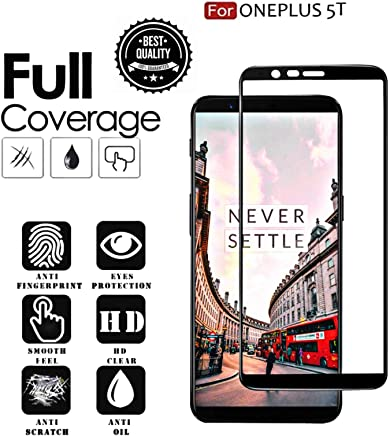 Aeidess Tempered Glass for OnePlus 5T (Black)-Edge to Edge Full Screen Coverage