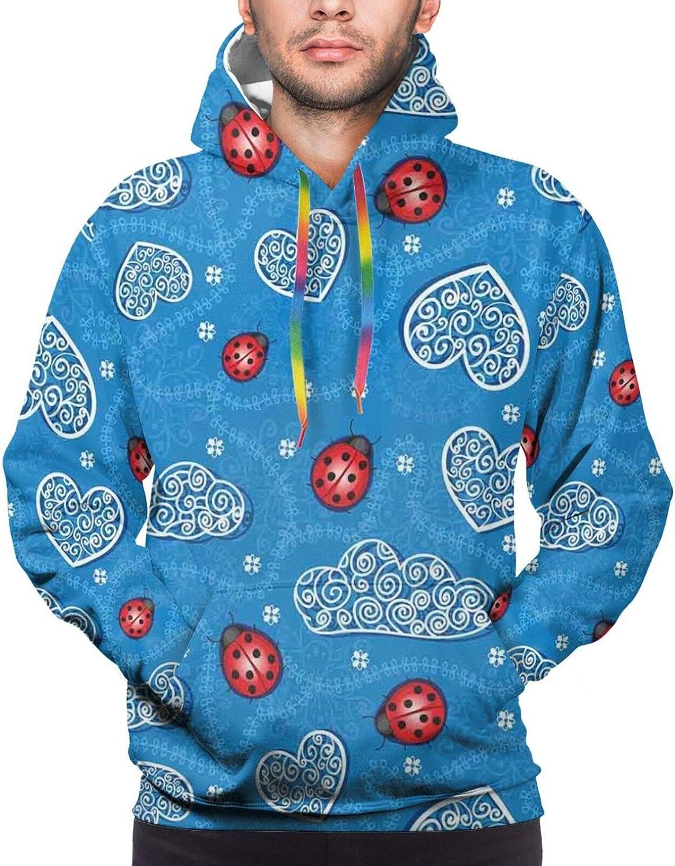 TENJONE Men's Hoodies Sweatshirts,Ladybug Wings Flower Inspired Heart Shaped Celebration Balloons