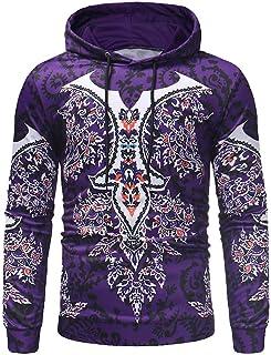 2ff472873985 iLXHD 2018 Men s Autumn Long Sleeve Ethnic Print Hoodie Sweartshirts Blouse