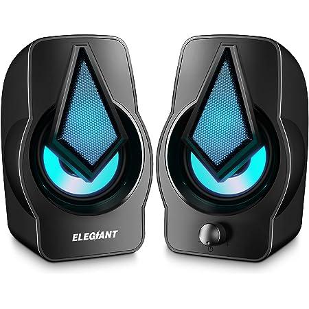 ELEGIANT Altavoces PC, 10W Altavoz 2.0 USB Gaming Sobremesa, Parpadeo Rítmico, Sonido Estéreo, Control Integrado, LED RGB Mejorado para Escritorio, Móvil, Casa, Oficina, Fiesta, Ordenador Portátil