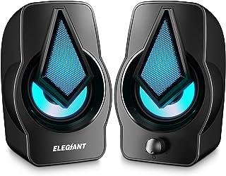 ELEGIANT Altavoces PC, Altavoz 2.0 USB 10W Gaming de Ordenador Sobremesa para Sistema de Estéreo con LED para Escritorio Móvil, Perfecto como Regalo para Casa Viaje Oficina Fiesta Ordenador Portátil