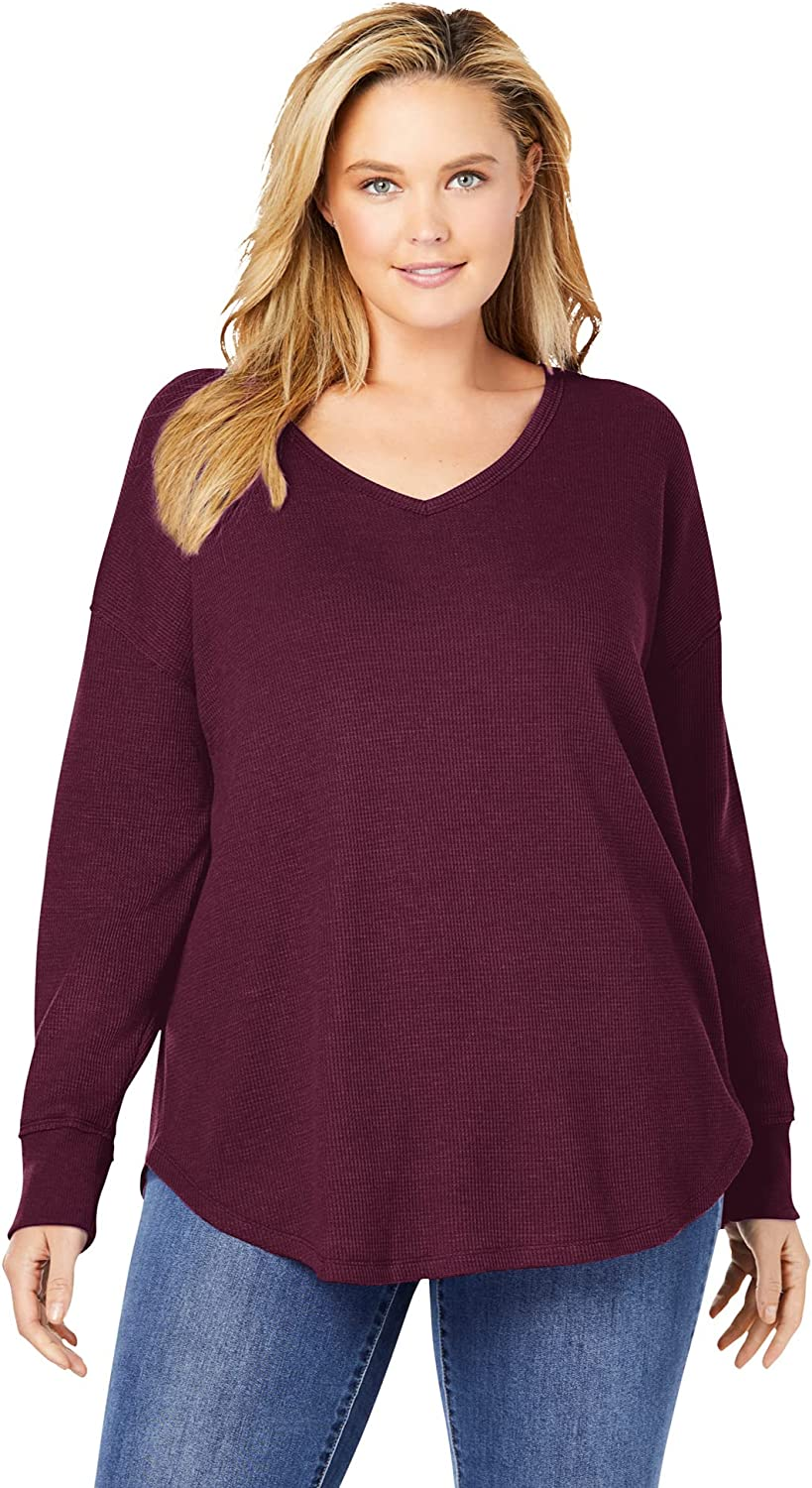 Woman Within Women's Plus Size Washed Thermal Waffle V-Neck Tee Shirt