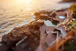 KwikMedia Poster of Natural Pools in Charco Azul Resort on La Palma Island on The Sunrise in Spain. Tilt-Shift Effect