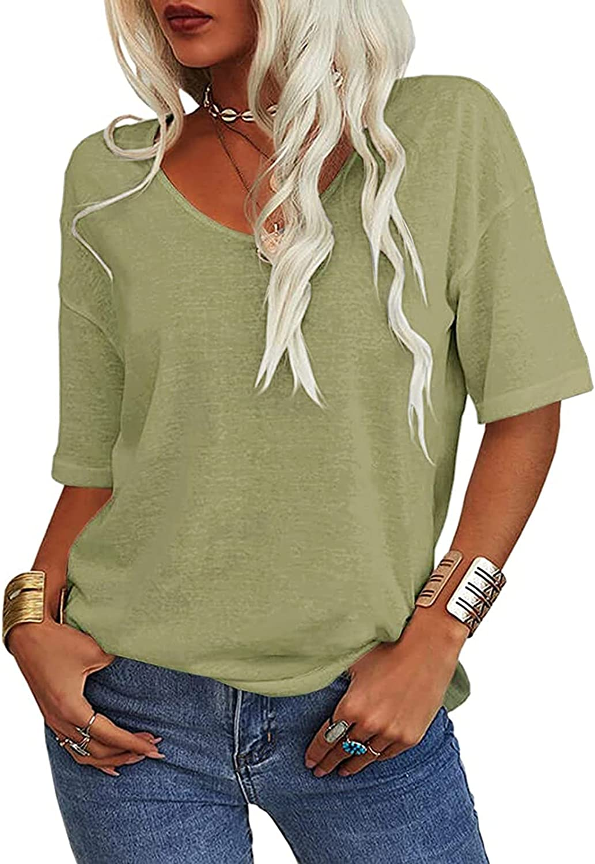 JPLZi Women Fashion V-Neck Half Sleeves T Shirt Solid Casual Casual Loose Basic Tops Cotton Linen Basic Shirts Blouses