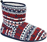 Jo & Joe Mens Anglesey Fair Isle Knitted Sherpa Lined Slipper Boots - UK Sizes 7-12