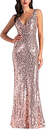 OWIN Women's Sparkling Formal Prom Long Dress Sexy Party Sequin Bridesmaid Maxi Dress