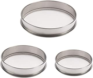 3 Pack Stainless Steel Soil Sieve Kits- 12in 1.7mm Garden Soil Screen+ 10in 2mm Round Hole Sifting Pan+ 8in 2.36mm Seeding...