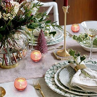 Lamorgift Rose Gold Votive Candle Holders Set of 12 - Mercury Glass Votives Candle Holder - Tealight Candle Holder for Home D