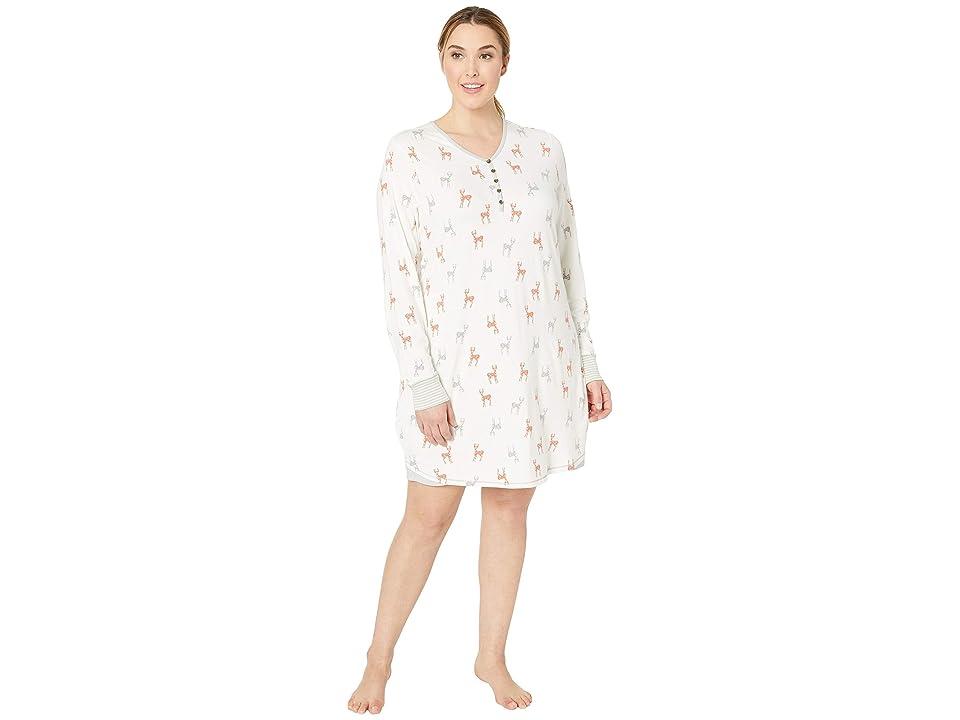 Aventura Clothing Plus Size Deer Night Shirt (Whisper White) Women