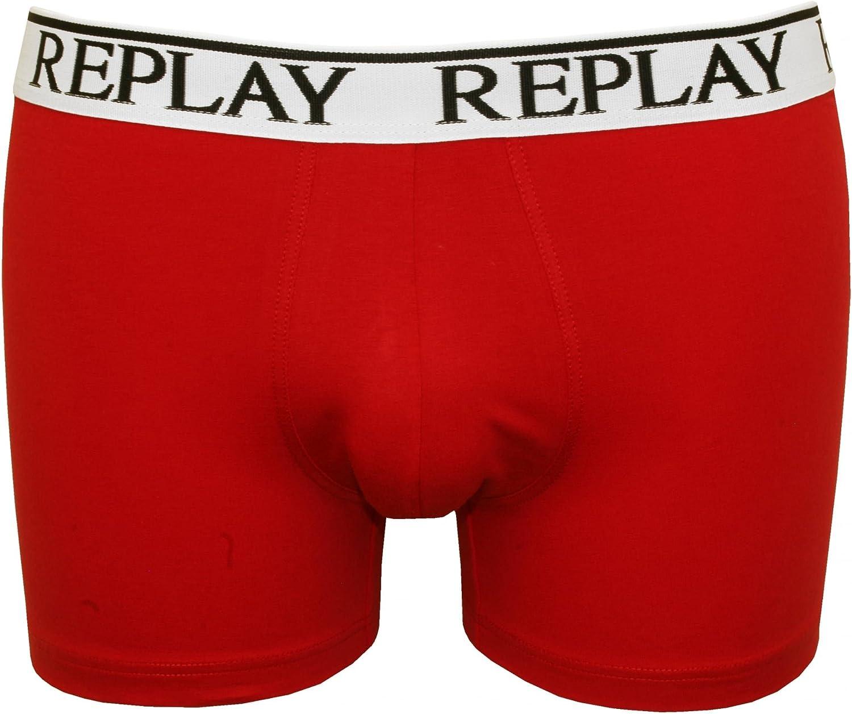 Replay 3-Pack Classic Logo Mens Boxer Trunks Black//White//Red