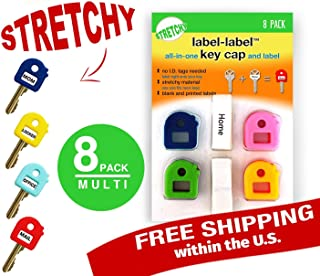Key Caps Tags - Stretchy All-in-One Key Cover & Tags - ONE Size FITS Most Keys - 8 Pack Multicolor - Includes Blank Labels and Printed Labels - Key Covers, N