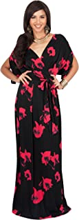 KOH KOH Womens Long Sexy V-Neck Wrap Cross Over Cocktail Floral Print Maxi Dress