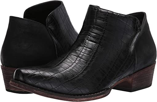 Black Faux Caiman Leather