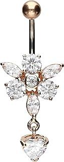 PIERCINGLINE - Piercing per ombelico in titanio | fiore e ciondolo a forma di cuore in argento 925 | Piercing a banana | c...