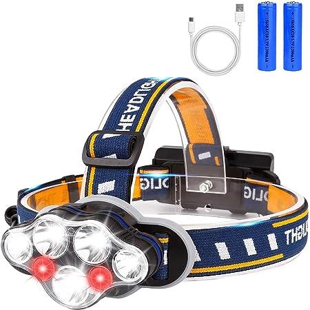 de Cabeza con bateria Bater/ías recargables de 8800mAh DEPALMERA✮ Linterna Frontal LED Recargable 9000LM Ciclismo Caza etc. Carrera Cargadores 220v y 12v Indicado para Camping Pesca