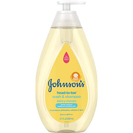 Johnson's Head-To-Toe Gentle Baby Wash & Shampoo, Tear-Free, Sulfate-Free & Hypoallergenic Bath Wash for Baby's Sensitive Skin & Hair, pH Balanced, Washes Away 99.9% Of Germs 27.1 Fl Ounce