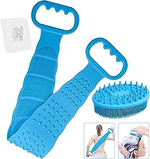 LHIEUM - Limpiador de silicona para el cuerpo de la ducha, 27.5 pulgadas, cepillo para polvo exfoliante de silicona para l...