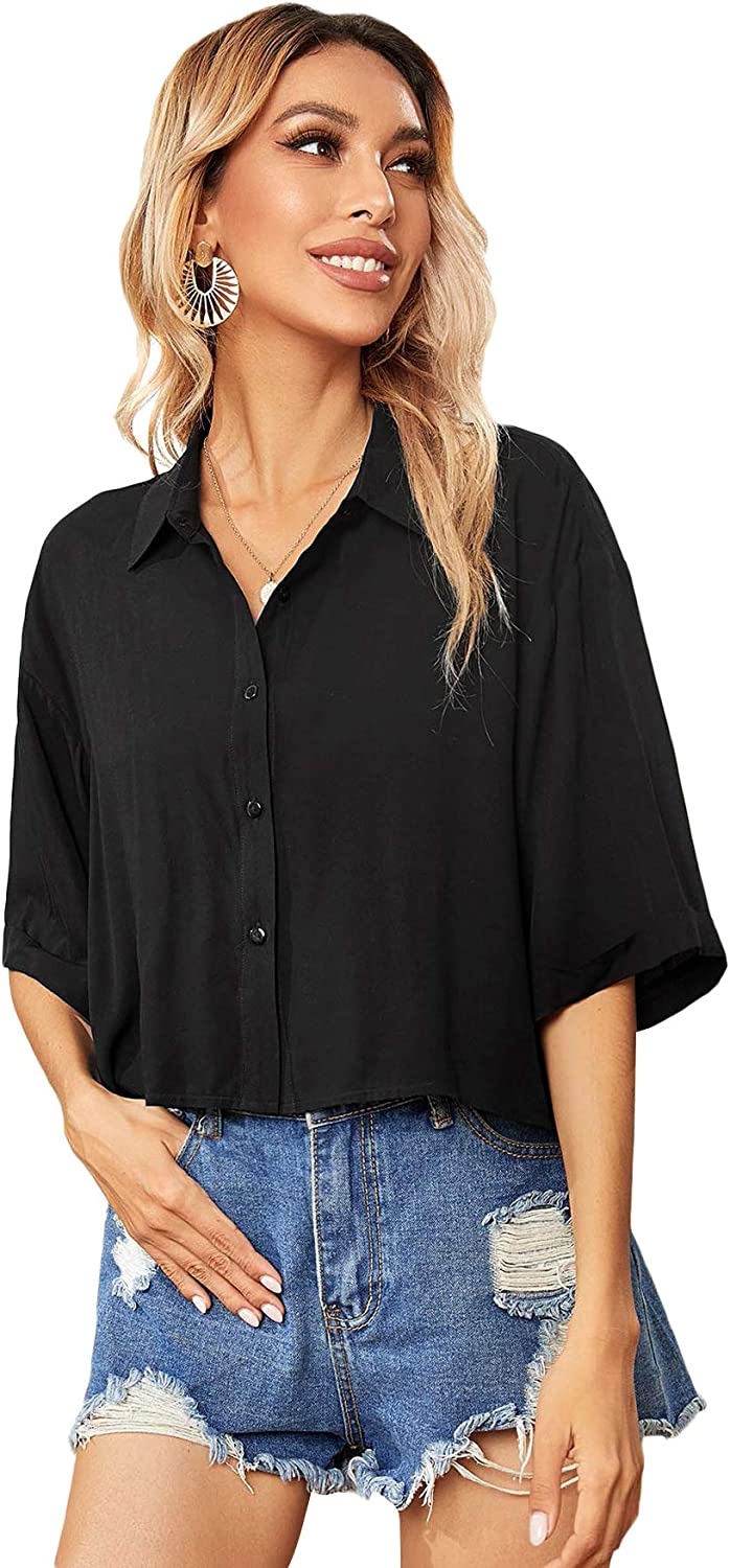 SOLY HUX Women's Casual Button Down Shirt Half Sleeve Crop Top Blouse