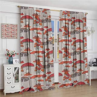 GUUVOR Mushroom Room Darkened Heat Insulation Curtain Mushrooms Pattern Healthy Edible Autumn Jungle Trees Natural Organic Vegetable Living Room W96 x L72 Inch Red Orange Tan