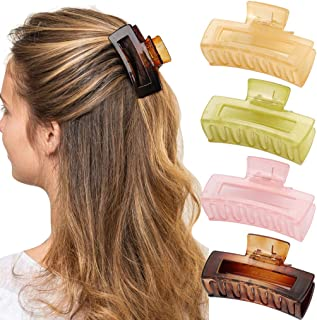 4 Pcs Hair Claw Clips for Women COCIDE 3.1 inches Medium Hair Clips for Thick Thin Hair Non-slip Celluloid Tortoise Jaw Cl...