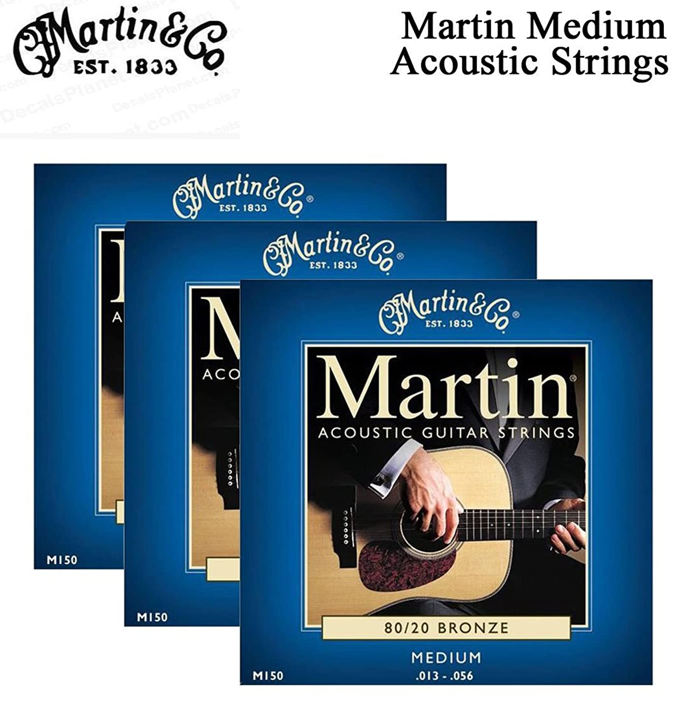 3 SETSMARTIN M150 ACOUSTIC GUITAR STRINGS EXTRA LIGHT BRONZE