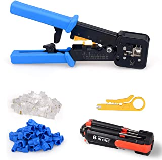 RJ45 Crimp Tool Ethernet Kit 6P 8P Multifunctional Ethernet Cable Cutter Professional High Performance Crimper for Pass Through and Legacy with 50PCS Connectors & Covers,screwdriver and Stripper