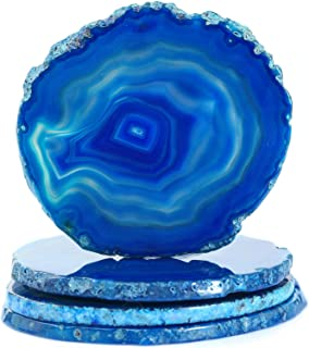 """Geode Coaster Set of 4, Agate Coasters for Wooden Table, Blue Coasters for Drinks(3-4""""), Natural Stone Coasters with Clear..."""