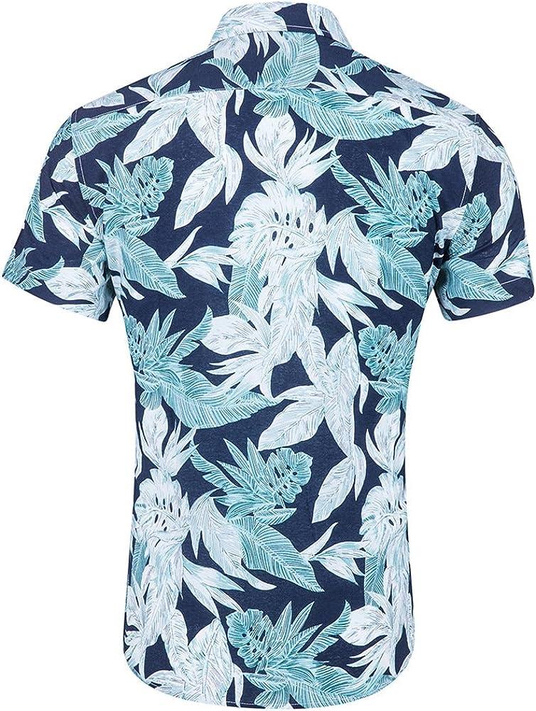 CATERTO Mens Tropical Short Sleeve Floral Print Beach Aloha Hawaiian Quick Dry Shirts