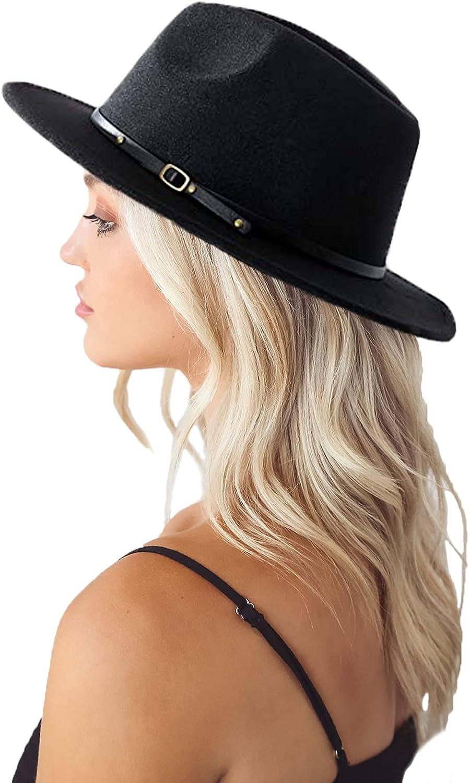 Classic Felt-Fedora Hat with Belt Buckle Women Wide Brim Wool Panama-Hat Adjustable
