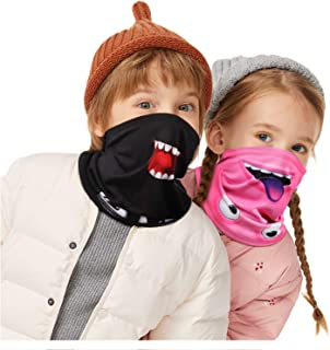 TRIWORKS 2 PCS Neck Gaiters For Kids, Boys & Girls Face Bandana Scarf Windprood 100% Cotton Fleece Children Neck Warmer Toddler Headwear Balaclava Face Covering 2-12 Years Old Winter, Autumn, Spring