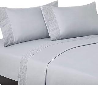 Bedsure Queen Bed Sheets Set Light Grey - Soft 1800 Bedding Sheets & Pillowcases Sets, 4 Pieces Queen Sheet Set