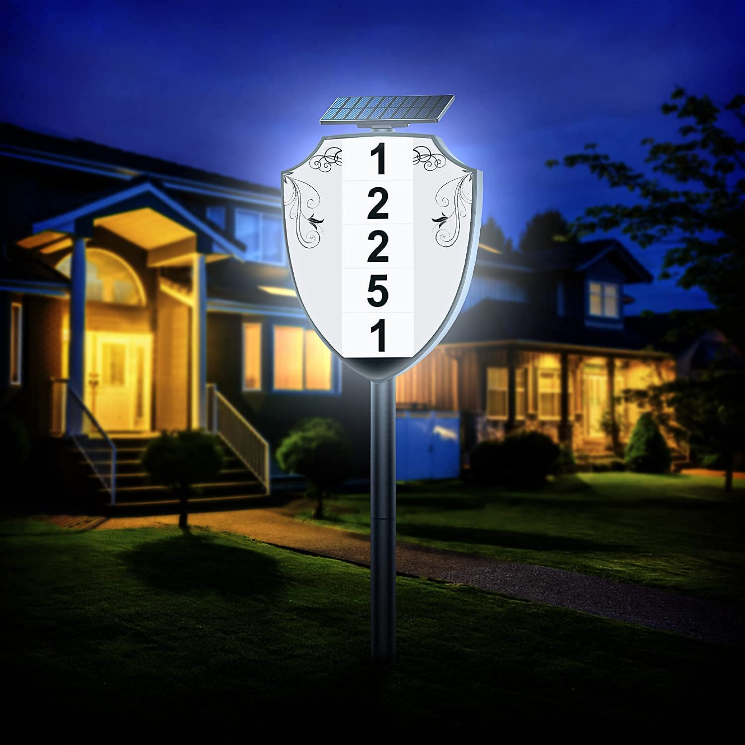 BNT Lighted House Numbers for Outside, Waterproof Solar Address Sign Lights Outdoor Address Plaque for Yard, Street, Home, Garden