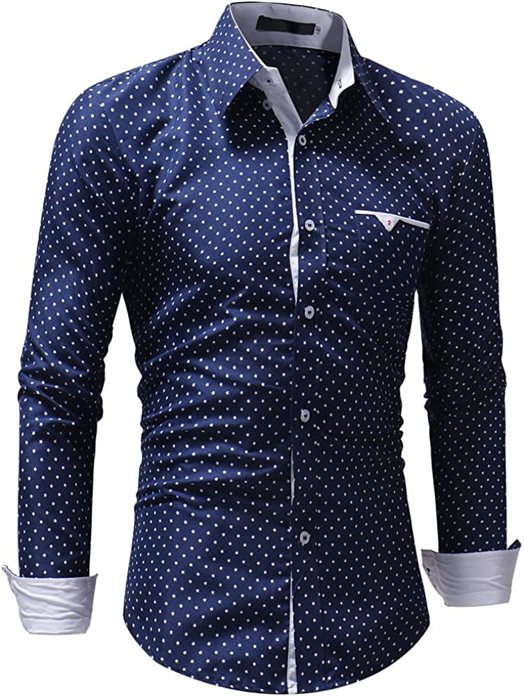 HONGJ Shirts for Mens, Long Sleeve Business Leisure Formal Casual Shirt Polka Dot Plaid Checked Slim Fit Work Office Tops