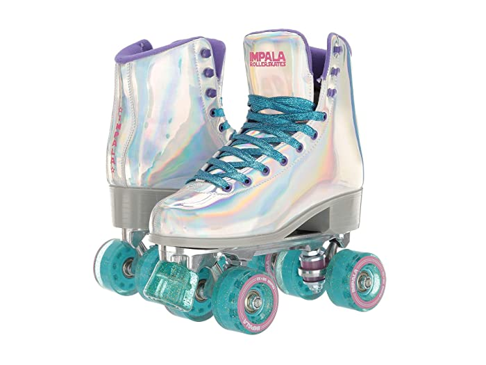 Vintage Sneakers, Retro Designs for Women Impala Rollerskates Impala Quad Skate Big KidAdult Holographic Girls Shoes $100.00 AT vintagedancer.com