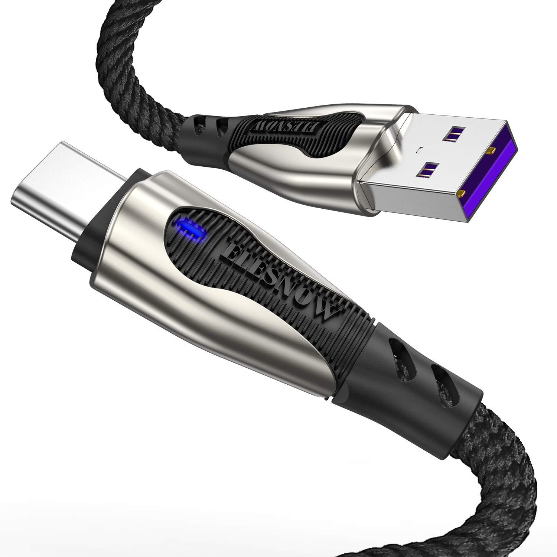 ELESNOW USB Type C Chargeur Ultra-Rapide Fast Charge Charging Câble pour Samsung Galaxy A40 / A70 / A20e / A90 5G / A51 / A71 / A21s (Noir 0.5M+1M+2M/Lot de 3)