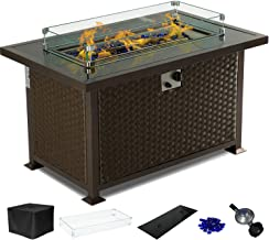Yamadao CSA Gas Propane Patio Fire Pit Table Rectangular Outdoor Table with Fire Pit, Auto-Ignition Resin Wicker, w/Tempered Glass Cover & Desktop/Clear Fire Glass/Wind Guard/Oxford Cover, Brown