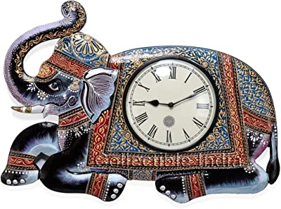 Collectible India Elephant Design Decorative Wall Clock Wooden Beautiful Hand Painted Home Decor Wall Clock - Showpiece
