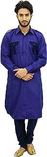Men's Pathani Style Hombres Salwaar Kameez Purple Punjabi Shirt