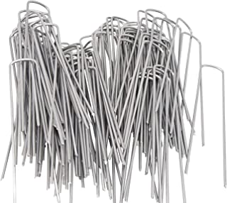 50Pcs 6inch U-Shaped Garden Securing Pegs,Anti-Rust Garden Stake with 50 Cable Ties for Securing Weed Barrier Fabric Netting, Irrigation Hoses, Ground Sheets and Fleece,etc