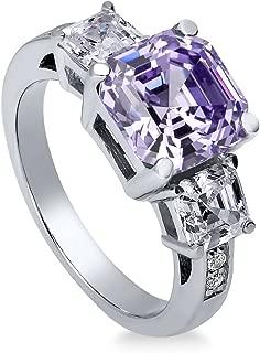 Rhodium Plated Sterling Silver Purple Asscher Cut Cubic Zirconia CZ Statement 3-Stone Anniversary Engagement Ring 5.6 CTW