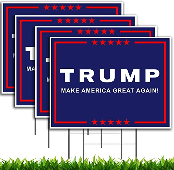 VIBE INK President Donald Trump Make America Great Again MAGA Yard Sign Lawn Signage 18 X 12 With 15 Inch Heavy Duty Metal Wire Stake Stand 4