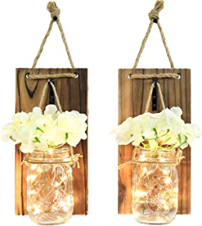 Greenco GRC2859 Wall Hung Mason Jar Sconce with Faux Flower and Led Strip Lights, Rustic