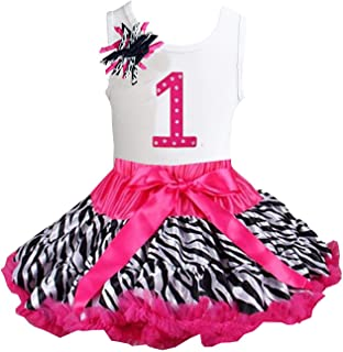 Kirei Sui Girls Ruffled Tutu & 1st - 6th Birthday Tee 2pcs Dress Outfit