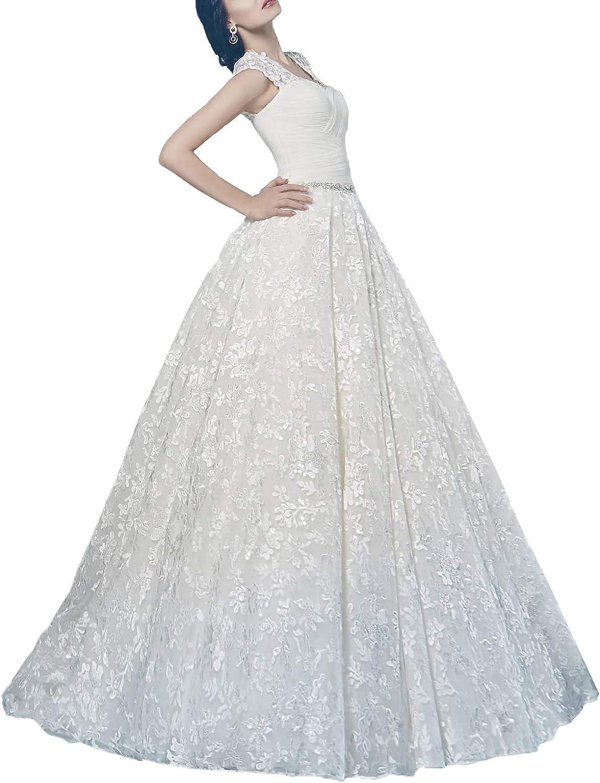 Women's Aline Sweetheart Lace Appliqued Wedding Gowns Sweep Train Chapel Bridal Dresses Plus Size
