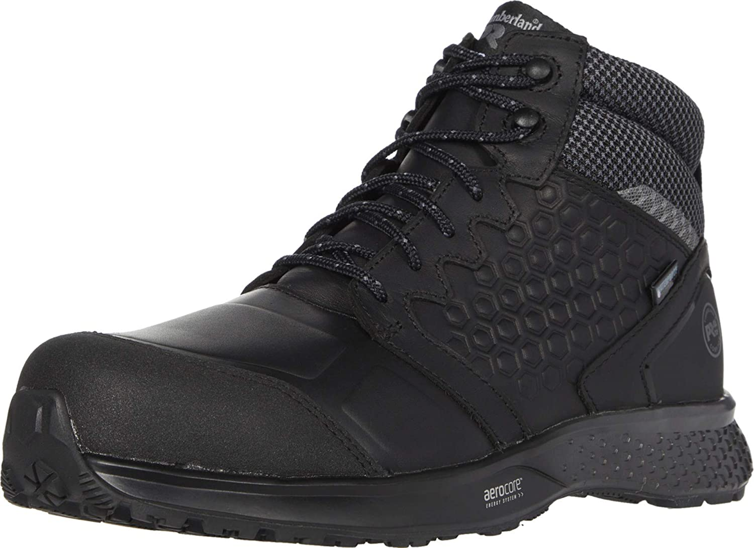 Timberland PRO Men's Mid Reaxion Athletic Hiker Wateproof Composite Toe Work Boot, Black/Grey, 12 Wide
