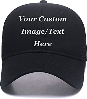 Custom Hats,Fashion Ponytail Hat for Women Men Funny Messy Buns Mesh Trucker Baseball Hats Snapback Visors