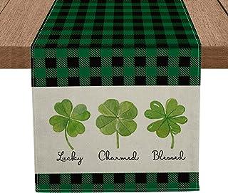 Artoid Mode Lucky Charmed Blessed Clover Shamrock Table Runner, Seasonal Buffalo Plaid St. Patrick's Day Holiday Kitchen D...