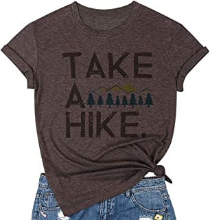 DUTUT Take A Hike Letter Print T Shirts Funny Vacation Camping Blouse Casual Short Sleeve Graphic Tees Tops for Women