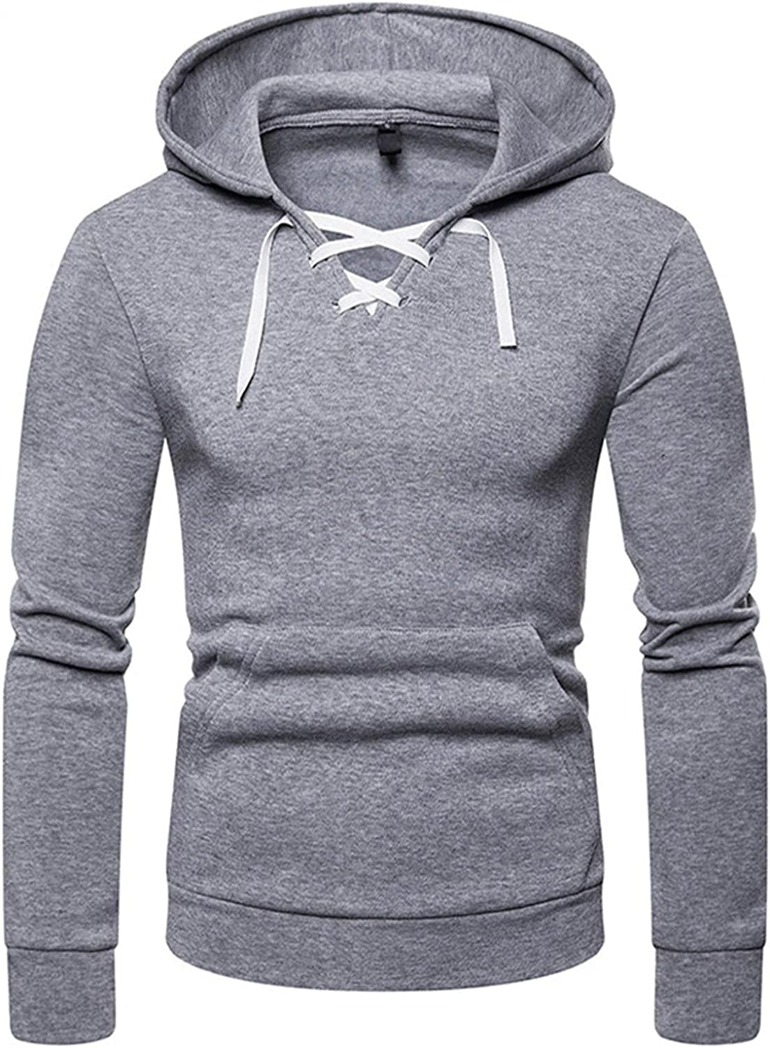 Huangse Men's Hoodie Button Down Hooded Sweatshirt Drawstring Hoodie Long Sleeve Athletic Tops Outdoor Workout Shirt for Mens