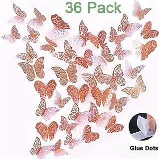 Mariposas Decoracion Mariposas Decorativas 3D Pared Murales de Papel Extraíble Decorativo Para el Hogar Baño Sala de Estar Dormitorio de Niños Niñas(36Pcs Oro Rosa)